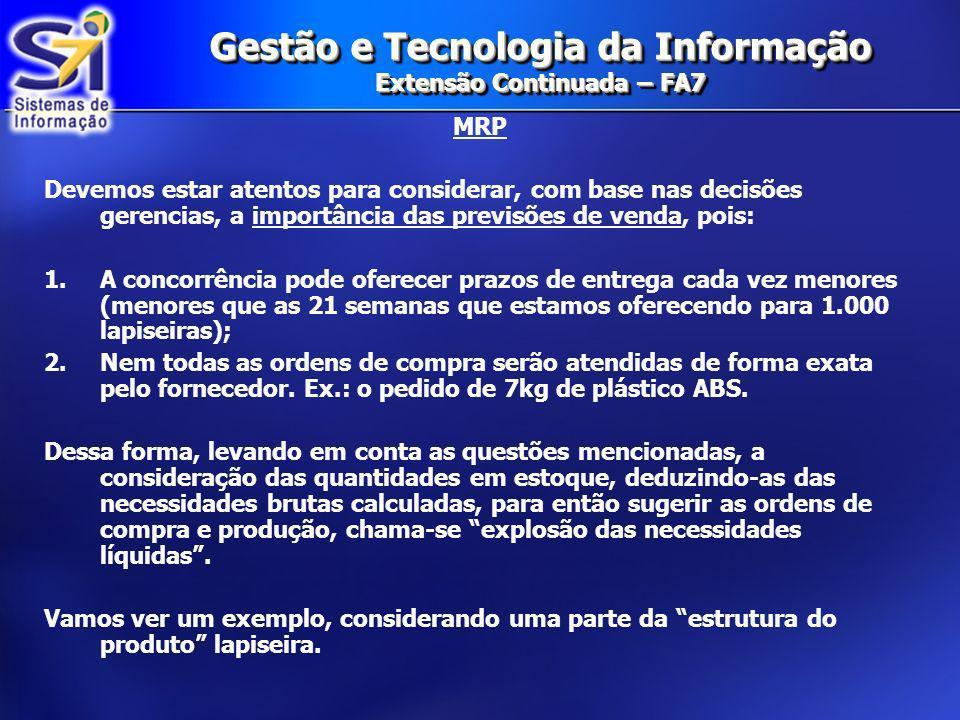 Gestão e Tecnologia da Informação Extensão Continuada – FA7 MRP Levando em consideração o item LAPISEIRA P207 que tivéssemos como prever o futuro, determinamos a coluna ESTOQUE PROJETADO DISPONÍVEL NA SEMANA 20.