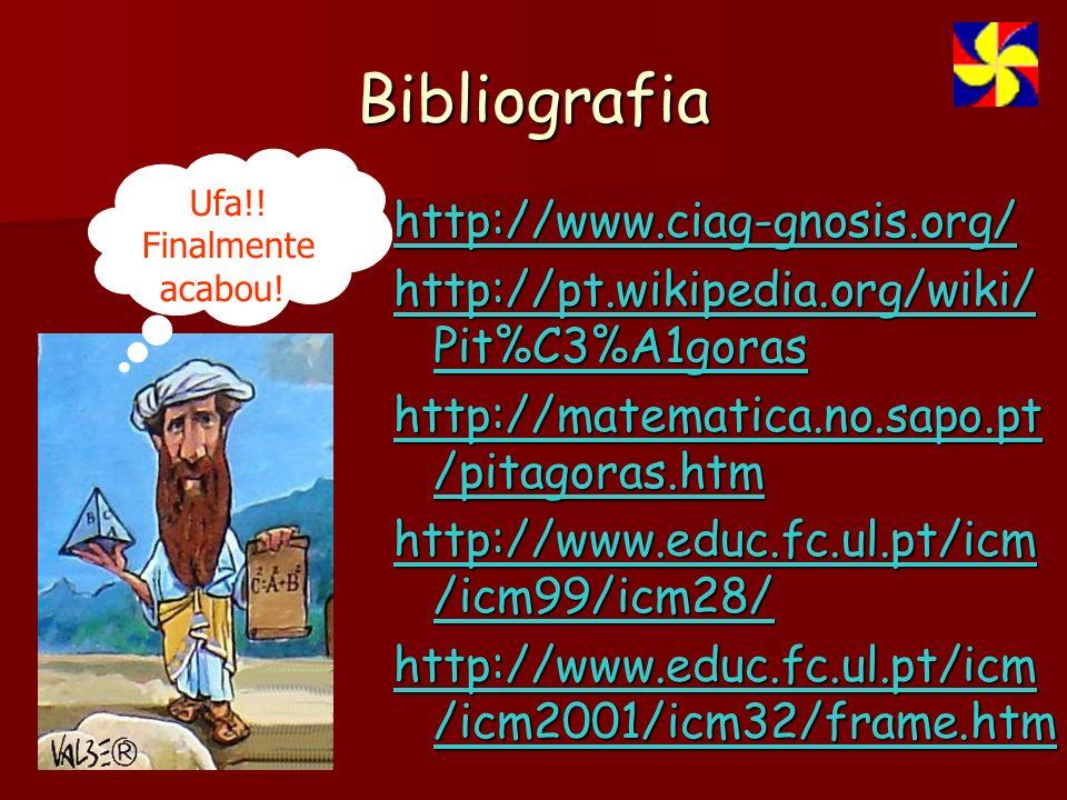 Bibliografia http://www.ciag-gnosis.org/ http://pt.wikipedia.org/wiki/ Pit%C3%A1goras http://matematica.no.sapo.pt /pitagoras.htm http://www.educ.fc.ul.pt/icm /icm99/icm28/ http://www.educ.fc.ul.pt/icm /icm2001/icm32/frame.htm Ufa!.