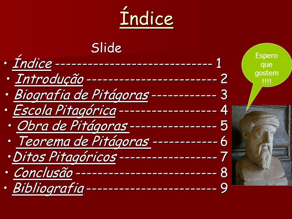 ÍndiceSlide Índice ----------------------------- 1 Índice ----------------------------- 1 Introdução ------------------------ 2 Introdução ------------------------ 2 Biografia de Pitágoras ------------ 3 Biografia de Pitágoras ------------ 3 Escola Pitagórica ------------------ 4 Escola Pitagórica ------------------ 4 Obra de Pitágoras ---------------- 5 Obra de Pitágoras ---------------- 5 Teorema de Pitágoras ------------ 6 Teorema de Pitágoras ------------ 6 Ditos Pitagóricos ------------------ 7Ditos Pitagóricos ------------------ 7 Conclusão -------------------------- 8 Conclusão -------------------------- 8 Bibliografia ------------------------ 9 Bibliografia ------------------------ 9 Espero que gostem !!!!