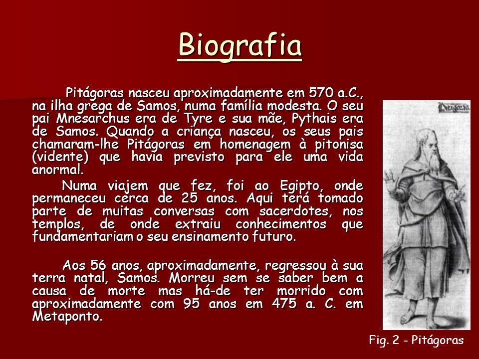 Biografia Pitágoras nasceu aproximadamente em 570 a.C., na ilha grega de Samos, numa família modesta.