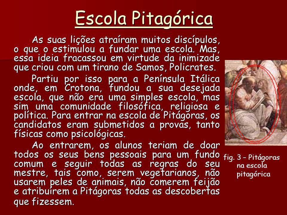 Escola Pitagórica As suas lições atraíram muitos discípulos, o que o estimulou a fundar uma escola.