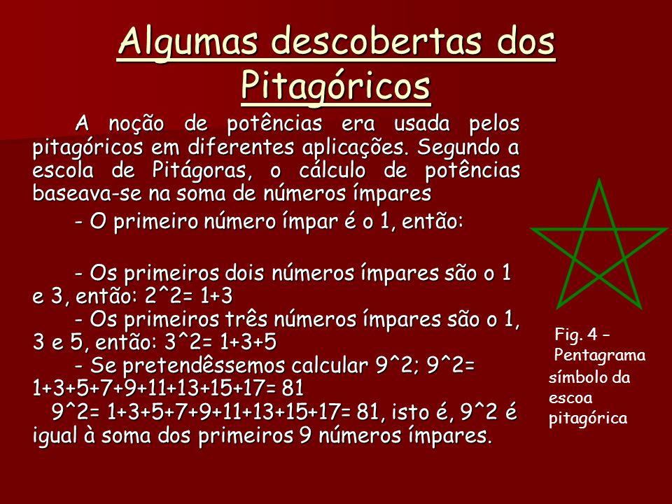 Algumas descobertas dos Pitagóricos A noção de potências era usada pelos pitagóricos em diferentes aplicações.