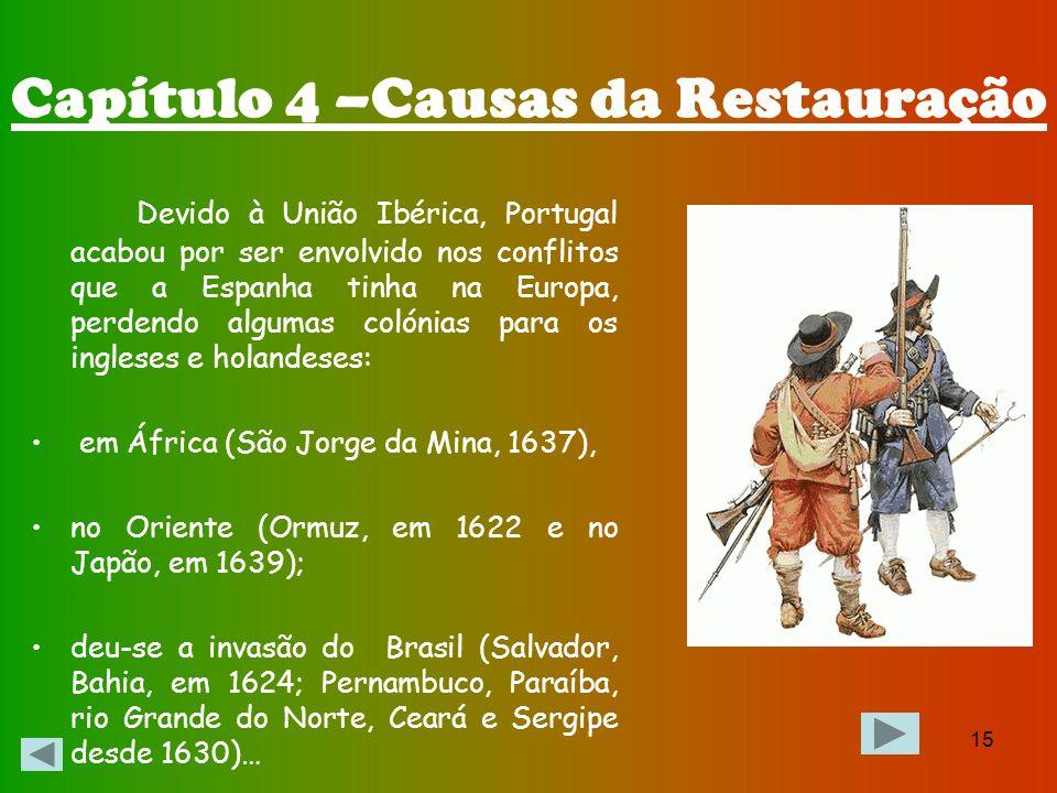 14 A Espanha tinha várias guerras que arrastavam Portugal: Contra a Inglaterra (em que ocorreu a destruição da Invencível Armada luso-espanhola - 1588