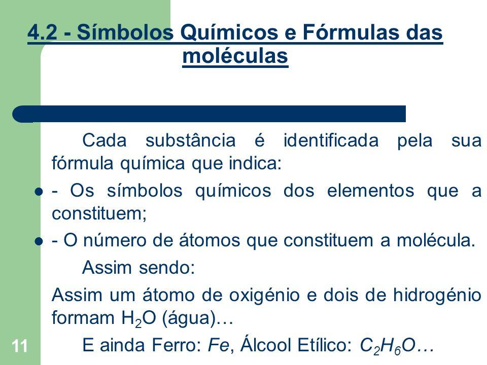 11 4.2 - Símbolos Químicos e Fórmulas das moléculas Cada substância é identificada pela sua fórmula química que indica: - Os símbolos químicos dos ele
