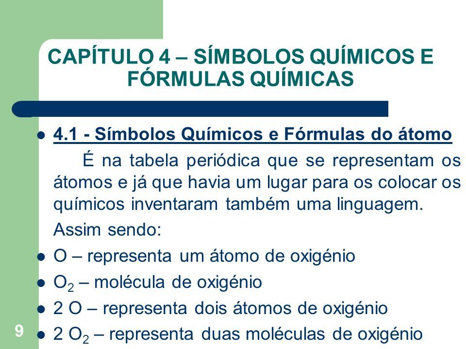 9 CAPÍTULO 4 – SÍMBOLOS QUÍMICOS E FÓRMULAS QUÍMICAS 4.1 - Símbolos Químicos e Fórmulas do átomo É na tabela periódica que se representam os átomos e