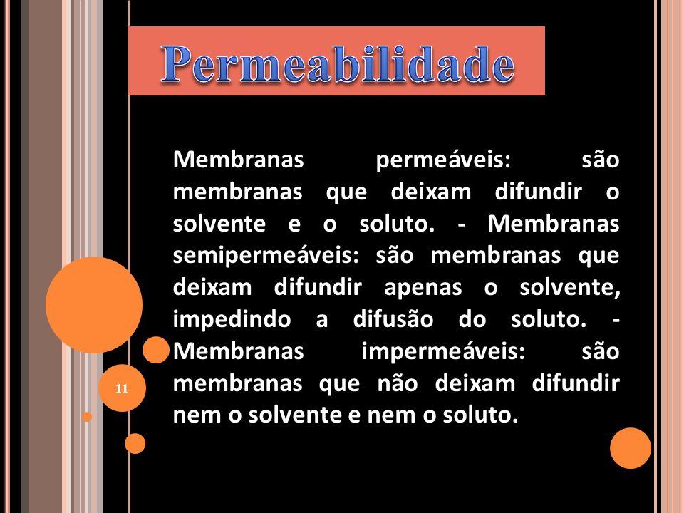 Membranas permeáveis: são membranas que deixam difundir o solvente e o soluto. - Membranas semipermeáveis: são membranas que deixam difundir apenas o