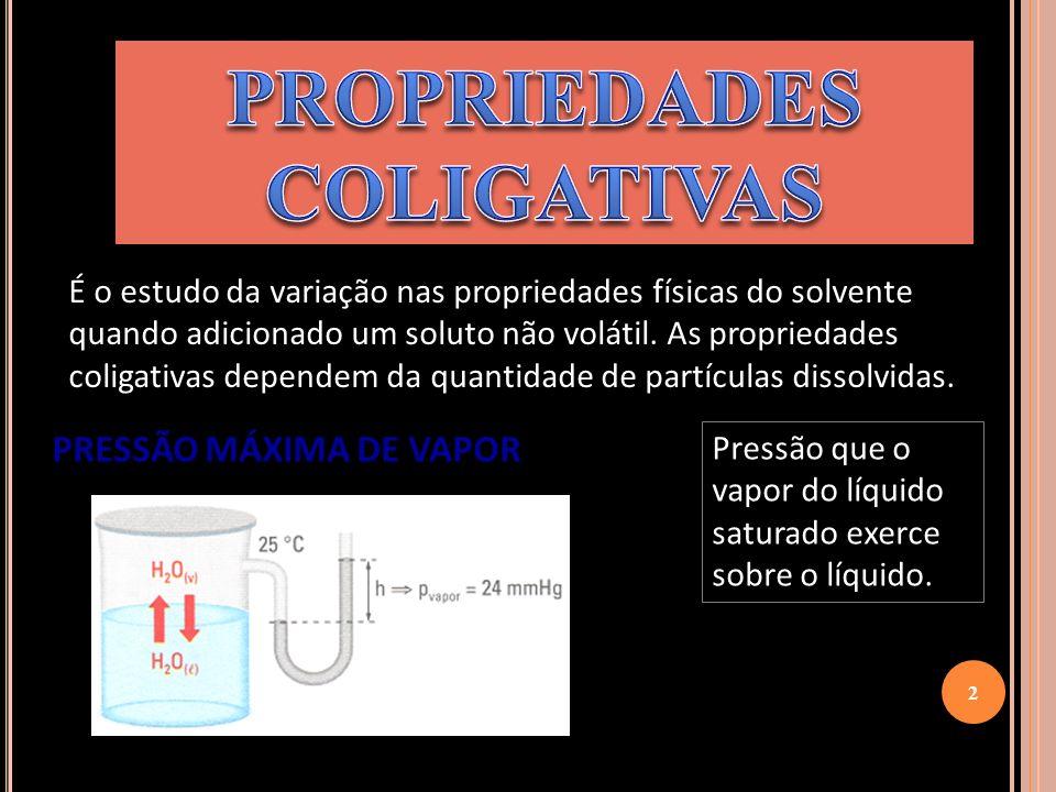 É o estudo da variação nas propriedades físicas do solvente quando adicionado um soluto não volátil. As propriedades coligativas dependem da quantidad