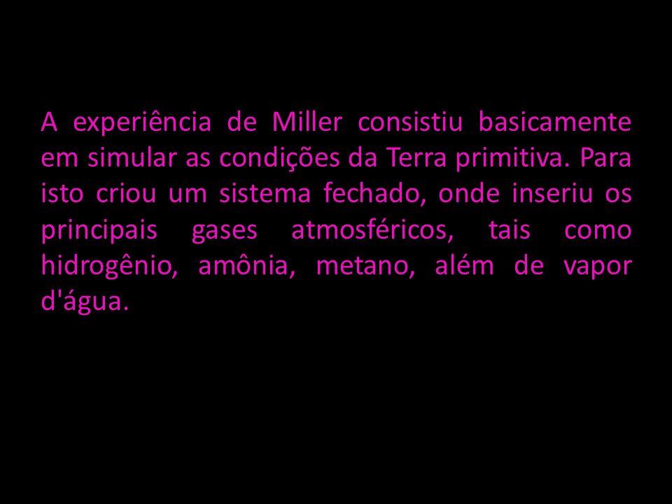 A experiência de Miller consistiu basicamente em simular as condições da Terra primitiva. Para isto criou um sistema fechado, onde inseriu os principa