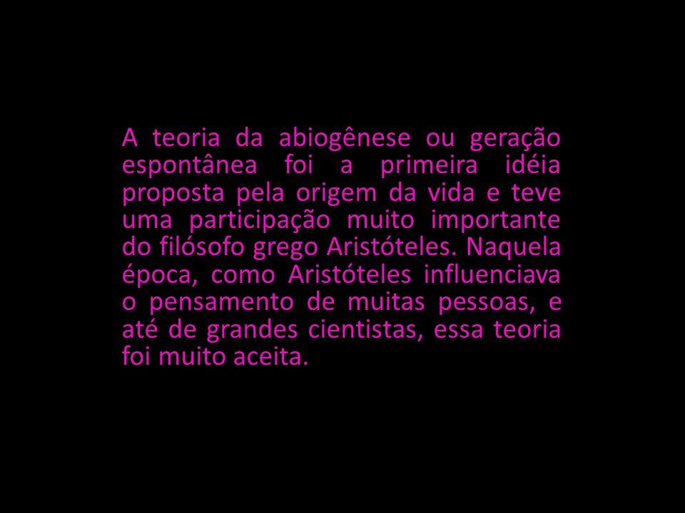 A teoria da abiogênese ou geração espontânea foi a primeira idéia proposta pela origem da vida e teve uma participação muito importante do filósofo gr