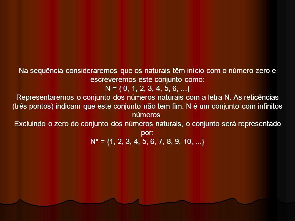 Na sequência consideraremos que os naturais têm início com o número zero e escreveremos este conjunto como: N = { 0, 1, 2, 3, 4, 5, 6,...} Representar