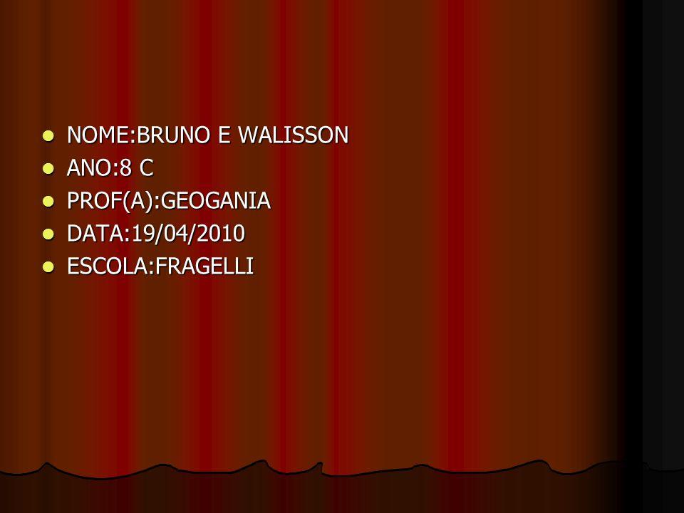 NOME:BRUNO E WALISSON NOME:BRUNO E WALISSON ANO:8 C ANO:8 C PROF(A):GEOGANIA PROF(A):GEOGANIA DATA:19/04/2010 DATA:19/04/2010 ESCOLA:FRAGELLI ESCOLA:F