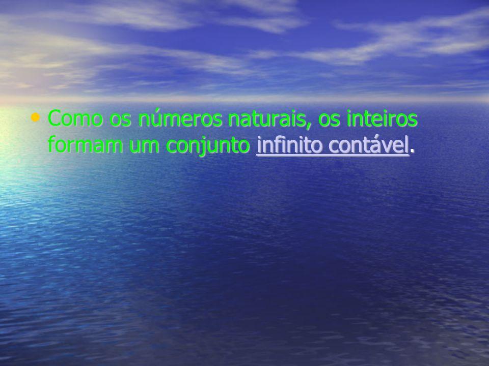Como os números naturais, os inteiros formam um conjunto infinito contável.