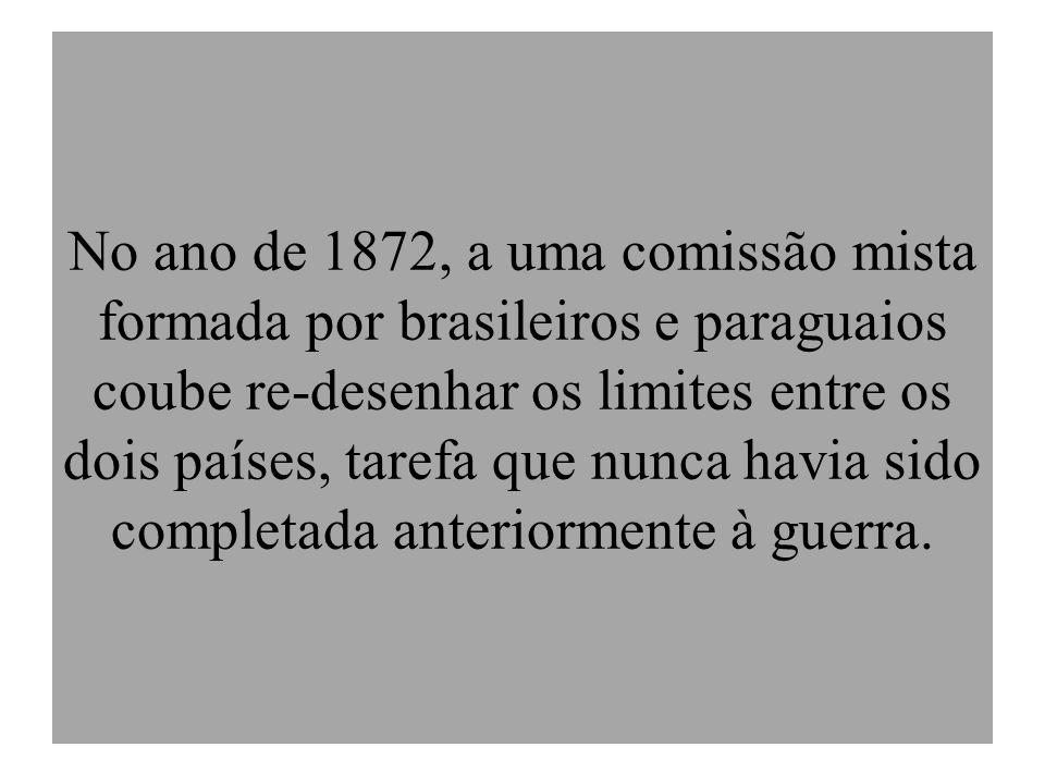 No ano de 1872, a uma comissão mista formada por brasileiros e paraguaios coube re-desenhar os limites entre os dois países, tarefa que nunca havia si