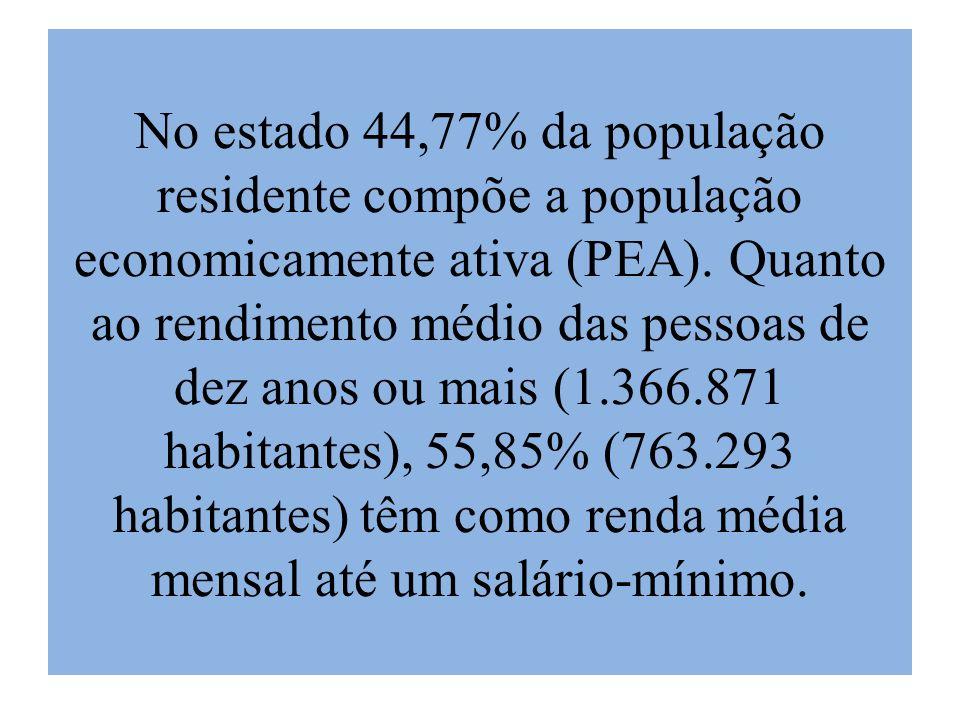 No estado 44,77% da população residente compõe a população economicamente ativa (PEA). Quanto ao rendimento médio das pessoas de dez anos ou mais (1.3