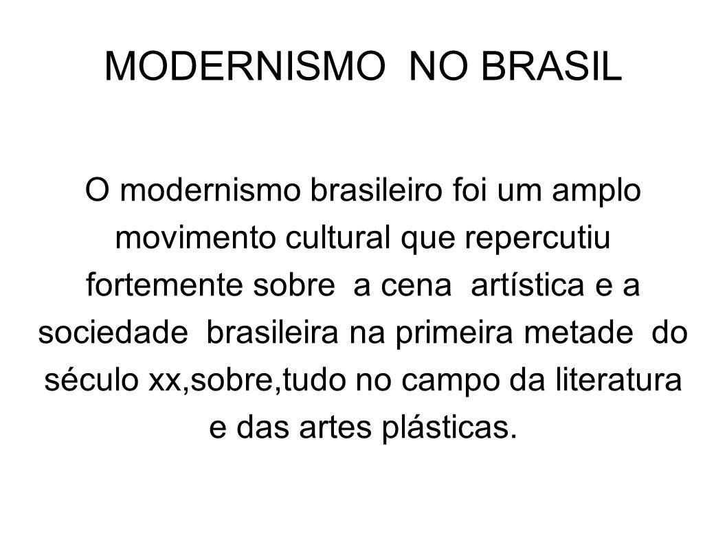MODERNISMO NO BRASIL O modernismo brasileiro foi um amplo movimento cultural que repercutiu fortemente sobre a cena artística e a sociedade brasileira