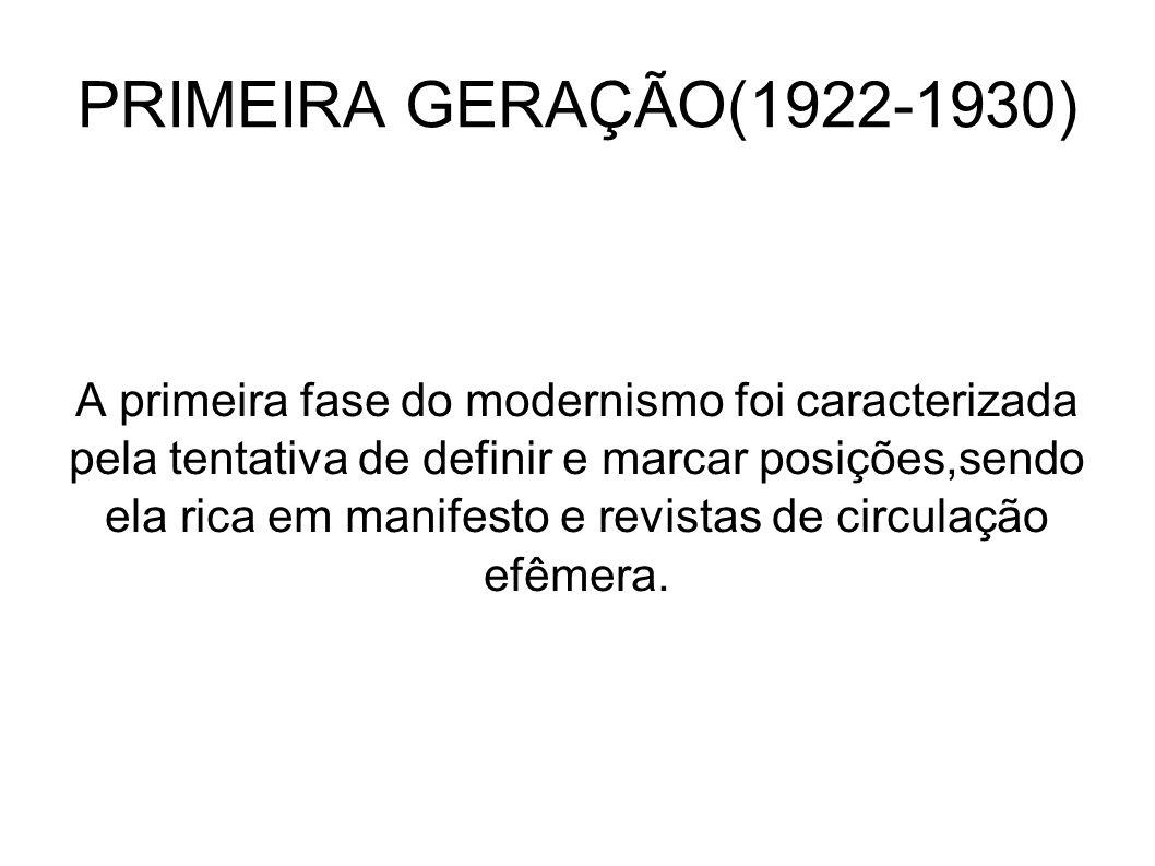 PRIMEIRA GERAÇÃO(1922-1930) A primeira fase do modernismo foi caracterizada pela tentativa de definir e marcar posições,sendo ela rica em manifesto e