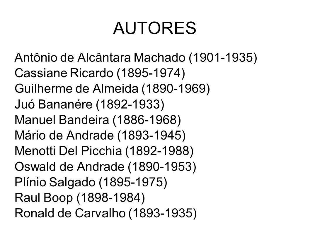 AUTORES Antônio de Alcântara Machado (1901-1935) Cassiane Ricardo (1895-1974) Guilherme de Almeida (1890-1969) Juó Bananére (1892-1933) Manuel Bandeir