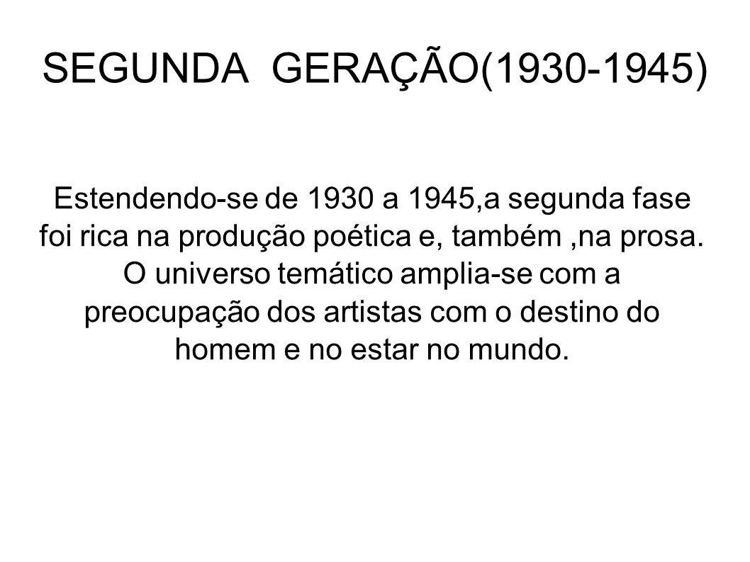 SEGUNDA GERAÇÃO(1930-1945) Estendendo-se de 1930 a 1945,a segunda fase foi rica na produção poética e, também,na prosa. O universo temático amplia-se
