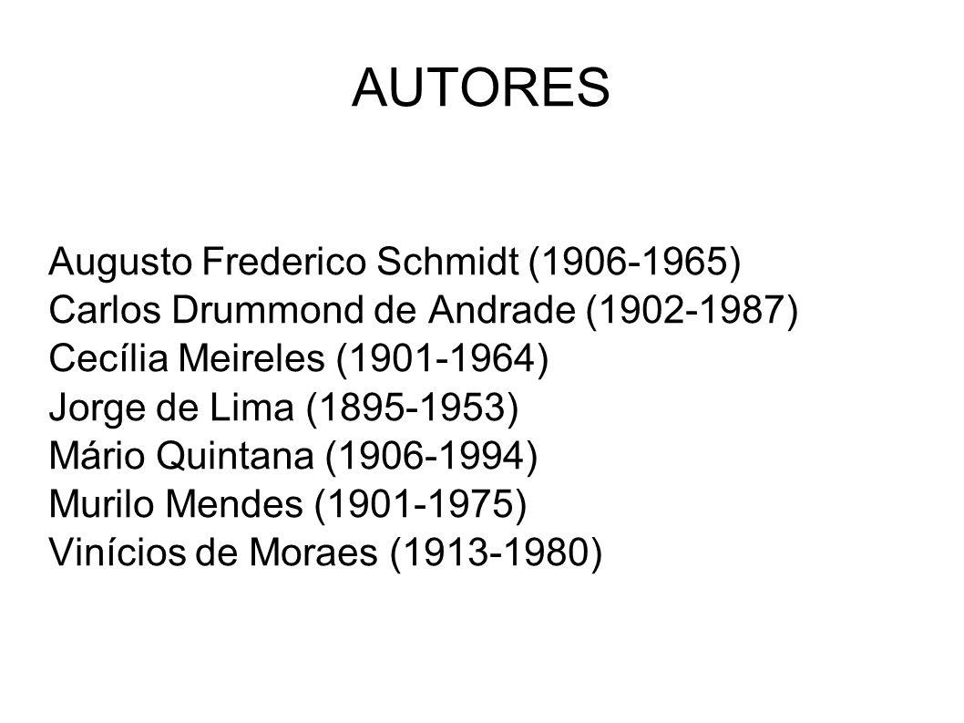 AUTORES Augusto Frederico Schmidt (1906-1965) Carlos Drummond de Andrade (1902-1987) Cecília Meireles (1901-1964) Jorge de Lima (1895-1953) Mário Quin