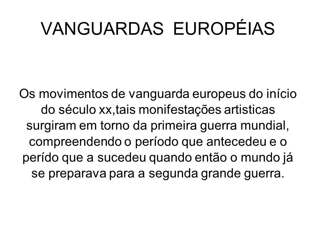 VANGUARDAS EUROPÉIAS Os movimentos de vanguarda europeus do início do século xx,tais monifestações artisticas surgiram em torno da primeira guerra mun