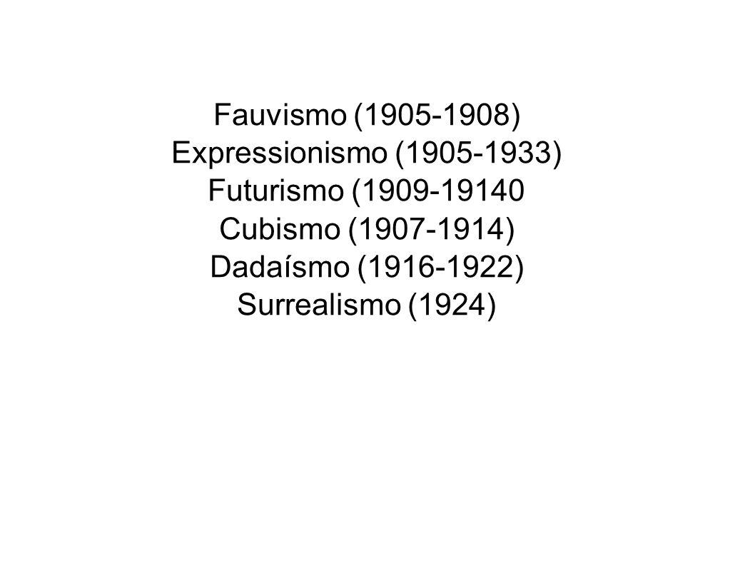 Fauvismo (1905-1908) Expressionismo (1905-1933) Futurismo (1909-19140 Cubismo (1907-1914) Dadaísmo (1916-1922) Surrealismo (1924)