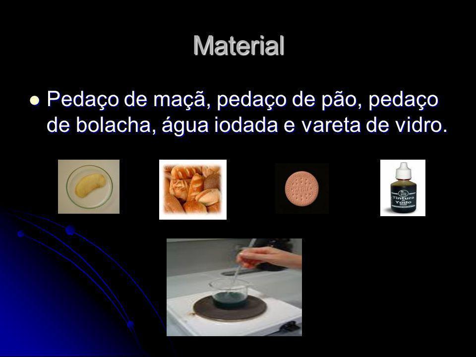 Material Pedaço de maçã, pedaço de pão, pedaço de bolacha, água iodada e vareta de vidro. Pedaço de maçã, pedaço de pão, pedaço de bolacha, água iodad