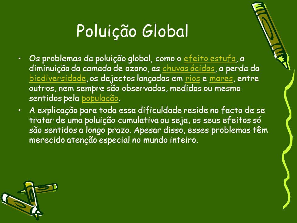 Poluição Global Os problemas da poluição global, como o efeito estufa, a diminuição da camada de ozono, as chuvas ácidas, a perda da biodiversidade, o