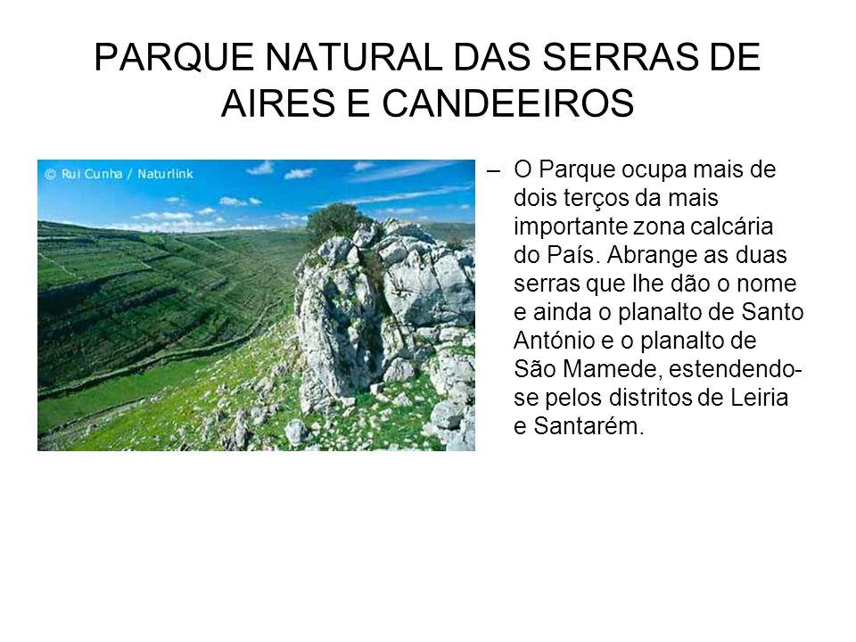 PARQUE NATURAL DAS SERRAS DE AIRES E CANDEEIROS –O Parque ocupa mais de dois terços da mais importante zona calcária do País. Abrange as duas serras q