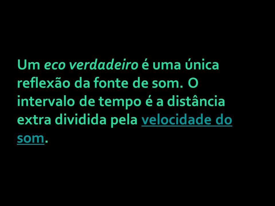 Um eco verdadeiro é uma única reflexão da fonte de som. O intervalo de tempo é a distância extra dividida pela velocidade do som.velocidade do som