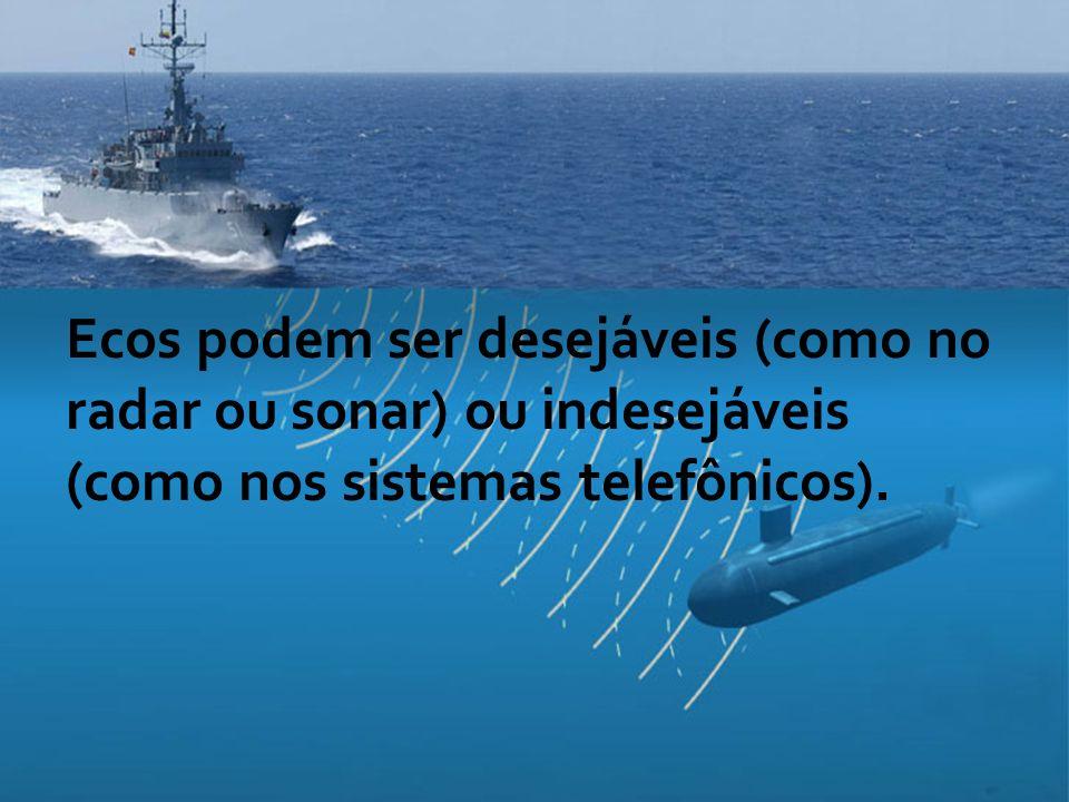 Ecos podem ser desejáveis (como no radar ou sonar) ou indesejáveis (como nos sistemas telefônicos).
