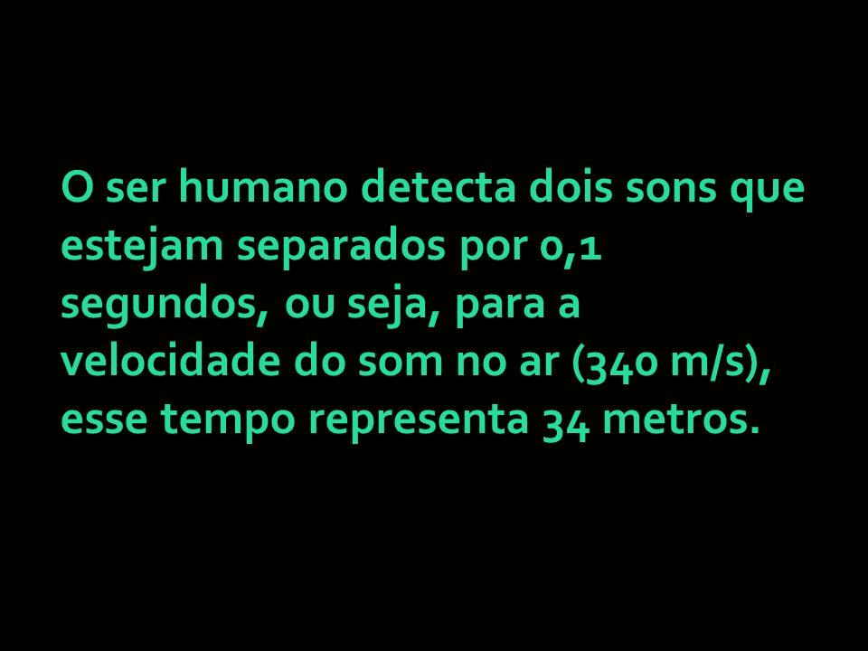 O ser humano detecta dois sons que estejam separados por 0,1 segundos, ou seja, para a velocidade do som no ar (340 m/s), esse tempo representa 34 met