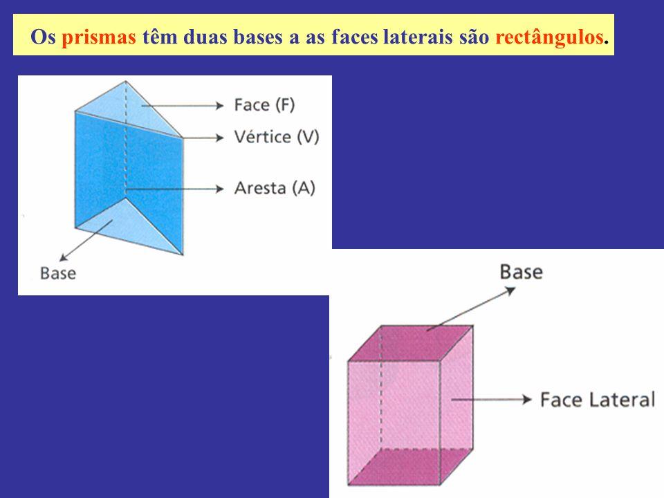 Os prismas têm duas bases a as faces laterais são rectângulos.