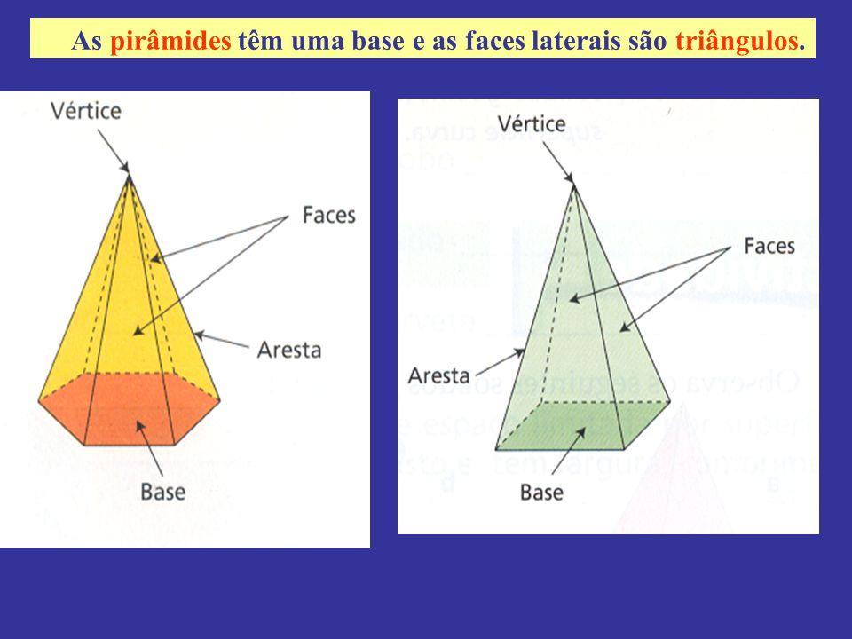 As pirâmides têm uma base e as faces laterais são triângulos.