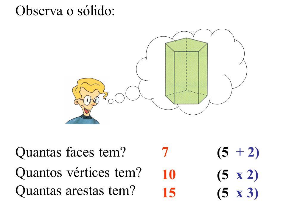 Observa o sólido: Quantas faces tem? Quantos vértices tem? Quantas arestas tem? 7 10 15 (5 + 2) x 2) x 3)