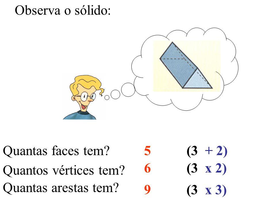 Observa o sólido: Quantas faces tem? Quantos vértices tem? Quantas arestas tem? 5 6 9 (3 + 2) x 2) x 3)