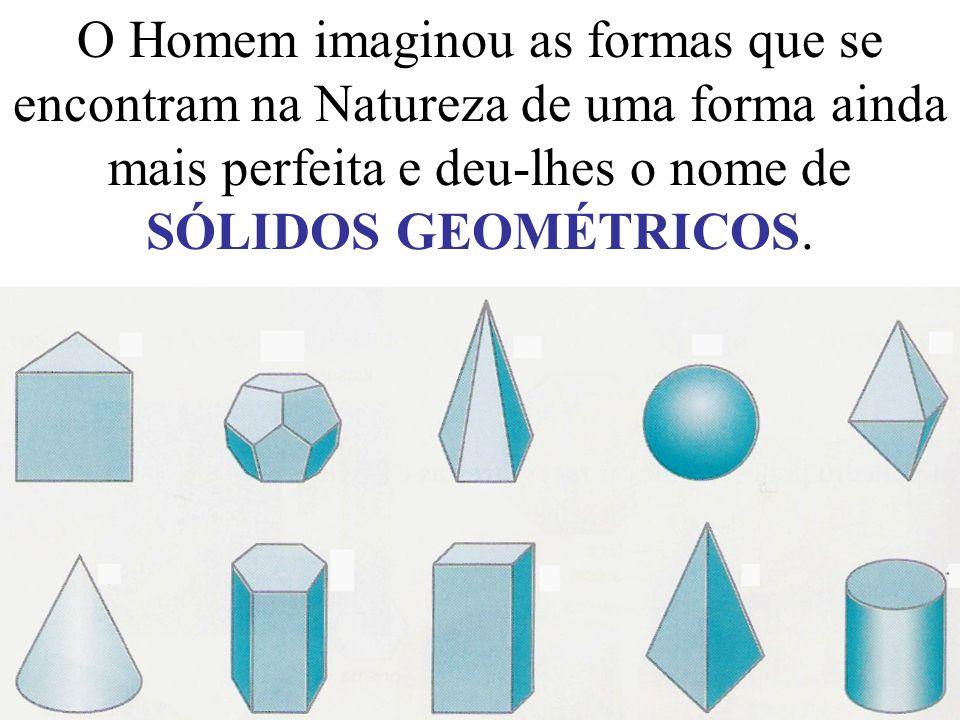 O Homem imaginou as formas que se encontram na Natureza de uma forma ainda mais perfeita e deu-lhes o nome de SÓLIDOS GEOMÉTRICOS.