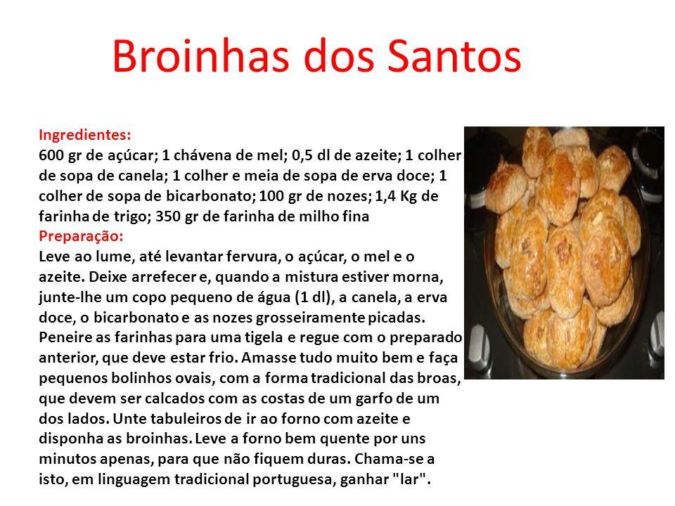 Broinhas dos Santos Ingredientes: 600 gr de açúcar; 1 chávena de mel; 0,5 dl de azeite; 1 colher de sopa de canela; 1 colher e meia de sopa de erva do