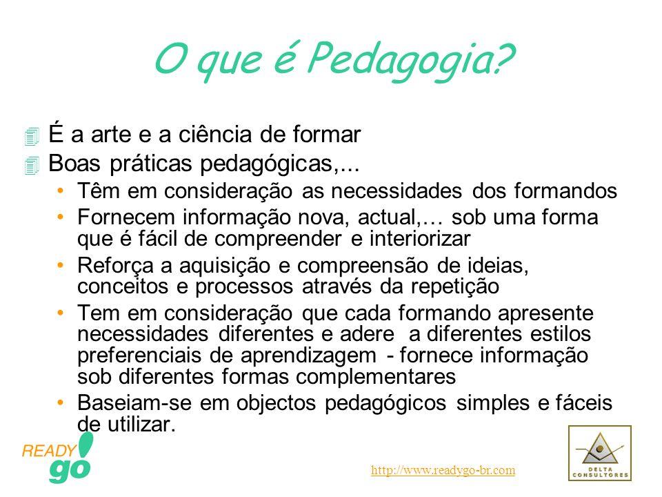 http://www.readygo-br.com O que é Pedagogia? 4 É a arte e a ciência de formar 4 Boas práticas pedagógicas,... Têm em consideração as necessidades dos