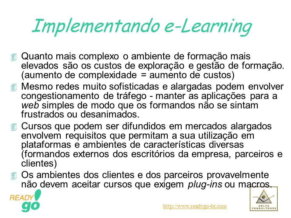 http://www.readygo-br.com Implementando e-Learning 4 Quanto mais complexo o ambiente de formação mais elevados são os custos de exploração e gestão de