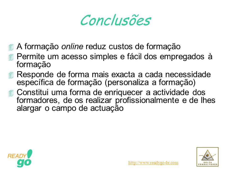 http://www.readygo-br.com Conclusões 4 A formação online reduz custos de formação 4 Permite um acesso simples e fácil dos empregados à formação 4 Resp