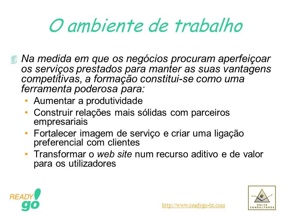http://www.readygo-br.com O ambiente de trabalho 4 Na medida em que os negócios procuram aperfeiçoar os serviços prestados para manter as suas vantage