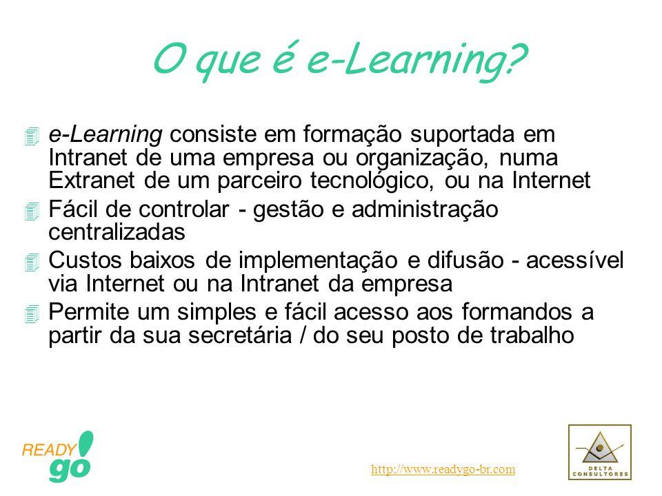 http://www.readygo-br.com O que é e-Learning? 4 e-Learning consiste em formação suportada em Intranet de uma empresa ou organização, numa Extranet de