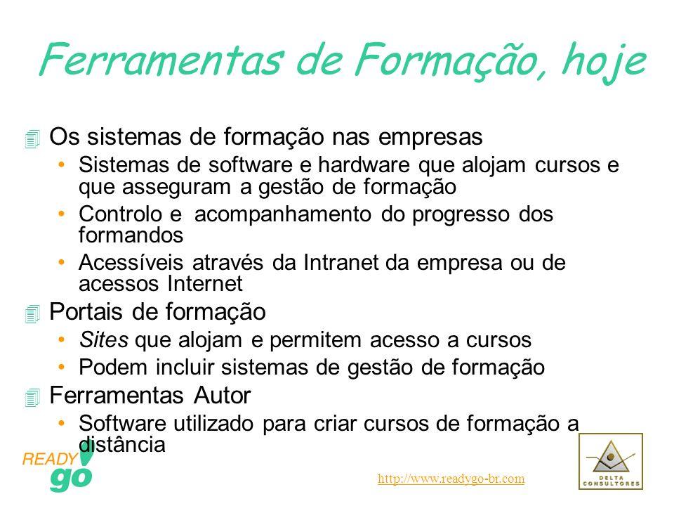 http://www.readygo-br.com Ferramentas de Formação, hoje 4 Os sistemas de formação nas empresas Sistemas de software e hardware que alojam cursos e que
