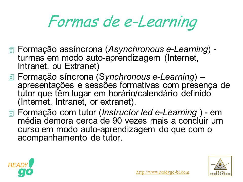 http://www.readygo-br.com Formas de e-Learning 4 Formação assíncrona (Asynchronous e-Learning) - turmas em modo auto-aprendizagem (Internet, Intranet,