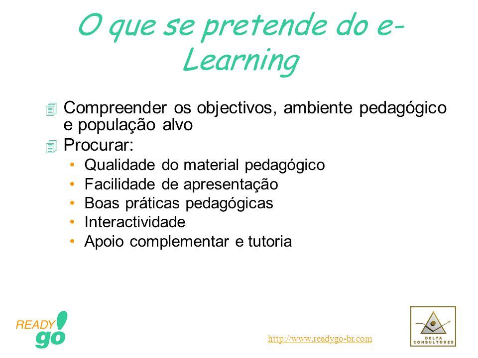 http://www.readygo-br.com O que se pretende do e- Learning 4 Compreender os objectivos, ambiente pedagógico e população alvo 4 Procurar: Qualidade do