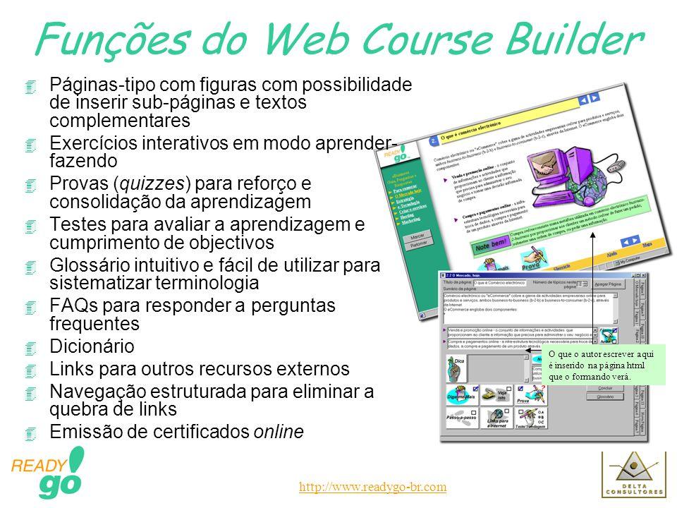 http://www.readygo-br.com O que o autor escrever aqui é inserido na página html que o formando verá. Funções do Web Course Builder 4 Páginas-tipo com
