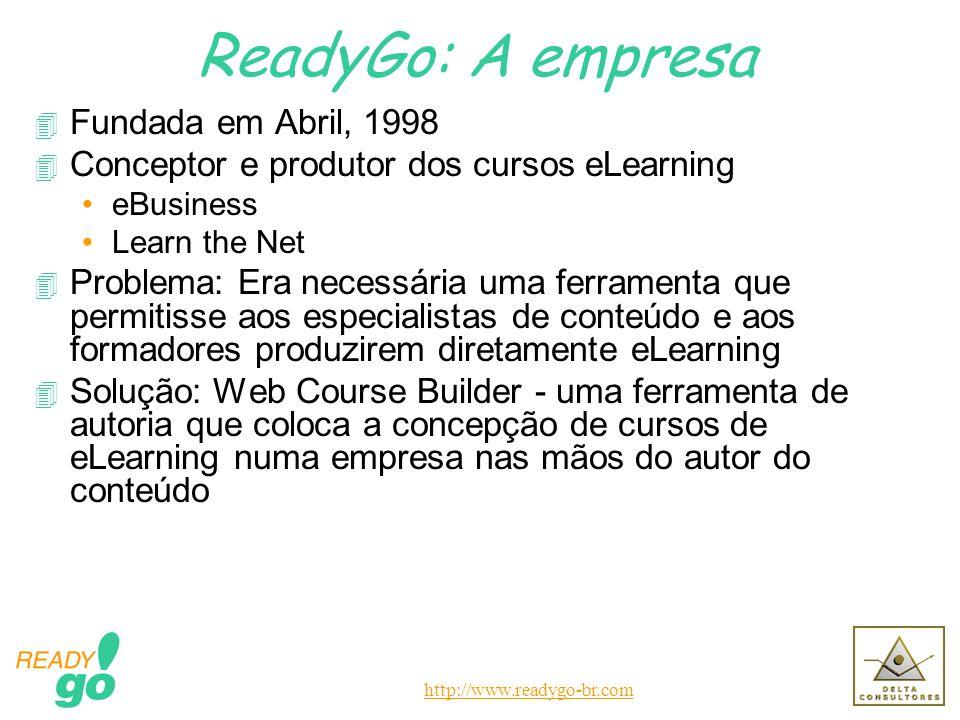 http://www.readygo-br.com ReadyGo: A empresa 4 Fundada em Abril, 1998 4 Conceptor e produtor dos cursos eLearning eBusiness Learn the Net 4 Problema: