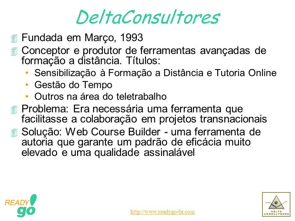http://www.readygo-br.com DeltaConsultores 4 Fundada em Março, 1993 4 Conceptor e produtor de ferramentas avançadas de formação a distância. Títulos: