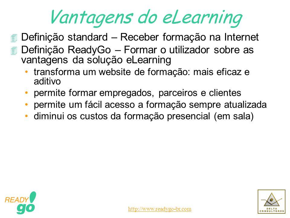 http://www.readygo-br.com Vantagens do eLearning 4 Definição standard – Receber formação na Internet 4 Definição ReadyGo – Formar o utilizador sobre a