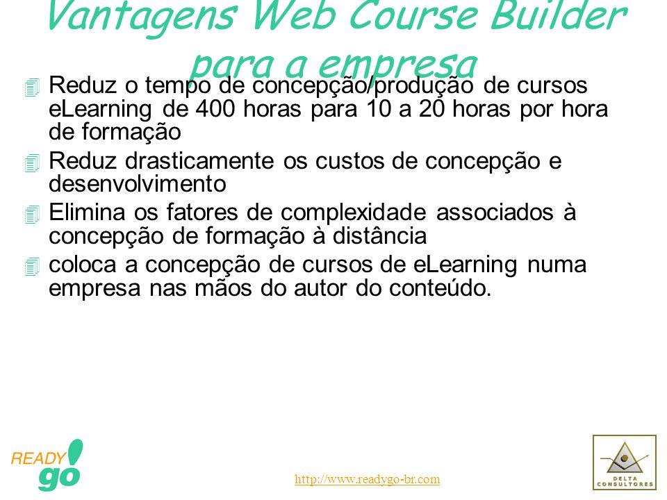http://www.readygo-br.com Vantagens Web Course Builder para a empresa 4 Reduz o tempo de concepção/produção de cursos eLearning de 400 horas para 10 a